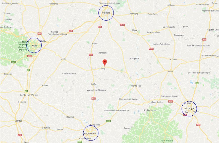 Carte grandes villes alentours Gîte Séjour Vacances à Civray dans la Vienne